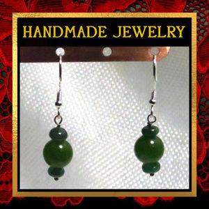 Emerald Gemstone Dangle Earrings #230